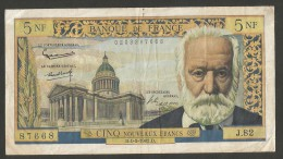 BANQUE De FRANCE - 5 NOUVEAUX FRANCS Victor HUGO - (D. 1 - 3 - 62) - 1959-1966 ''Nouveaux Francs''