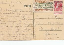 ESPERANTO - BELGIUM - Carte-Vue TP Grosse Barbe + Vignette Congrès ANTWERPEN 1911 Vers MONTPELLIER  -- C1/794 - Esperanto