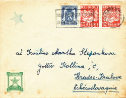 ESPERANTO - BELGIUM - Lettre TP Export CHARLEROI 1949 + 2 Vignettes Différ. Etoile Verte Vers CESKOSLOVENKO  -- C1/797 - Esperanto