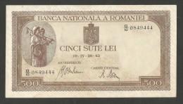 [NC] ROMANIA - BANCA NATIONALA A ROMANIEI - 500 LEI (1942) - Romania