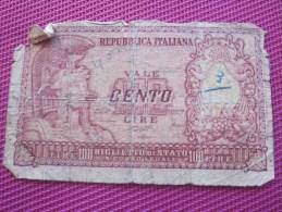 1976 Note Bank  Banca Billet De Banque Bank De Italie Italia Biglieto De Stato 100 Lires - [ 2] 1946-… : Républic