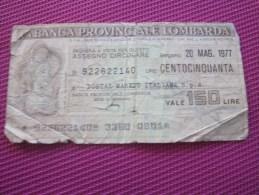 1977 Note Bank  Banca Billet De Banque Bank De Italie Banca Provinciale Lombarda D'Italia   150 Lires - Andere