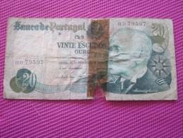 Note Bank  Banca Billet De Banque Bank De Italie Banco  Du Portugal 20 Escudos - Portugal
