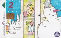 "Latvia, D-022, Cartoon, Comic ""snowman"" - Serial Number 28LAT, 2 Scans. - Lettonie"