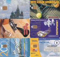 6 Télécartes RUSSIE Lot19 (bon état) - Russie