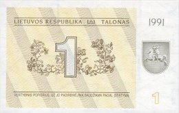 Lithuania 1 Talonas  1991  Pick 32b  UNC - Lituanie