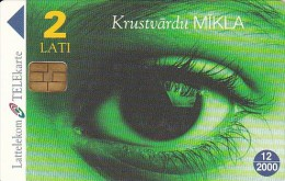Latvia, D-035, Magic Eye, Green, Crossword Puzzle, 2 Scans. - Latvia