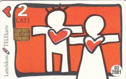 Latvia, D-044, St. Valentines Day, Kisses, 2 Scans. - Lettland