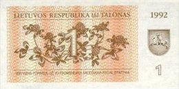 Lithuania 1 Talonas  1992  Pick 39 UNC - Lithuania