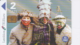 Latvia, D-055, Masks, Christmas, 2 Scans. - Latvia