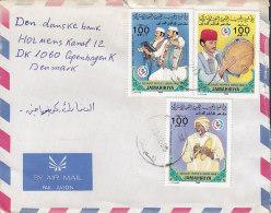 Libya Airmail Par Avion 1985 Cover Brief To Denmark Musik Instrumente Music Instruments Drum Trommler Flute Flöte - Libye