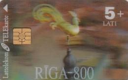 Latvia, D-064, Riga 800, 3D TELEcard, 2 Scans. - Latvia