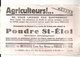 Buvard Agriculture Agriculteurs! Ne Vous Laissez Pas Surprendre  La Poudre St-Eloi Usine à Blois Rue De La Garonne - Agriculture
