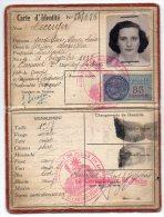 CARTE D´IDENTITE DELIVREE En 1954 à Une FEMME DOMICILIEE à CLERMONT FERRAND Avec TIMBRE FISCAL - Historical Documents