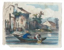Image Gravée Colorisée/ Pêche à La Nasse / Vers 1820-1830    IM456 - Trade Cards