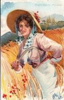 BASILIO CASCELLA ILLUSTRATORE -ANNI 1910 -TOSCANA-MIETITRICE-AUGURI CASE PANE -PATRONATO REGINA MADRE PERFETTO STATO - Familles Royales