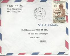"De Papeete Ile Tahiti En-tête ""Yee Yick....""timbre A13 1959 - Polinesia Francesa"