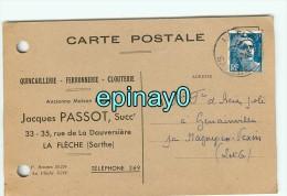 72 - LA FLECHE - CARTE PUBLICITAIRE - Quincaillerie - Ferronnerie - Clouterie - Jacques PASSOT - La Fleche