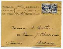 Lettre Avec Flamme KRAG : JEUX MONDIAUX SKI / FIS FEVRIER 1937 / CHAMONIX Mt BLANC  -  Daté Du 13 Février 1937 - Skiing