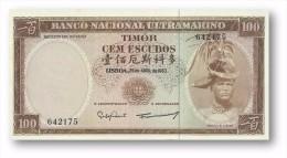 TIMOR - 100 ESCUDOS - 25.4.1963 - UNC - P 28 - Sign. 8 - REGULO D. ALEIXO - PORTUGAL - Timor