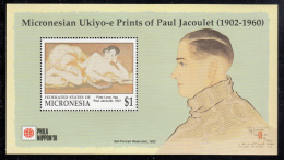 Micronesia MNH Scott #145 Souvenir Sheet $1 First Love, Yap, 1937 - Ukiyo-e Prints Of Paul Jacoulet - Phila Nippon '91 - Micronésie