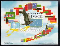 Micronesia MNH Scott #142a Souvenir Sheet $2.90 Frigatebird, Flag - Operation Desert Shield/Storm - Micronésie