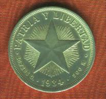 CUBA 1 Peso 1934.Silver/Argent/plata. 900 M.  Km # 15.2  TTB.MBC.VF. - Kuba