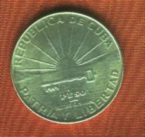 CUBA 1 Peso 1953 Silver/Argent/plata. 900 M.  Km # 29 NEUF-.SC-.aUNC. - Kuba