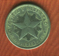CUBA 1 Peso 1915 Silver/Argent/plata. 900 M.  Km # 15  TB+.BC+.FINE+. - Kuba