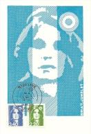 FRANCE - MARIANNE BLEUE - 3,40 + 2,20- BRIAT-JUMELET - Timbre Et Tampon Jour D'émission PARIS -30-9-1992 H - Cartoline Maximum