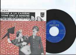 Années 1960 Ou 70 - 45 Tours 2 Titres - Sketch De Lou Pascal Et Lambert Lemaire - Titine à La Caserne Et Titine Chez Le - Vinyles