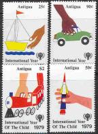 0100 Space Trains Cars Aviation IYC 1979 Antigua 4v Set ** MNH - Airplanes