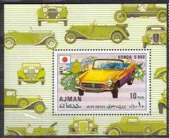 0123 ✅ Cars Auto Transport Japanese Honda 1971 Ajman S/s ** MNH 6ME - Automobili