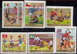 0914 Football Soccer 1970 FIFA Manama 6v Set ** MNH - 1970 – Mexico