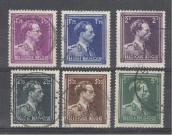 """BELGIE - OBP Nr 641/646 - Leopold III """"Open Kraag"""" - Gest./obl. - Cote 3,50 € - 1936-1957 Open Collar"""
