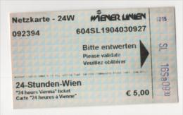 Alt405 Biglietto Giornaliero, Day Ticket, Billet 24h, Bus Autobus Metro Tram Tramways Austria Vienna Vienne Wien - Europa