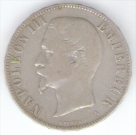 FRANCIA 5 FRANCS 1856 NAPOLEONE III ZECCA PARIGI AG SILVER - J. 5 Francos