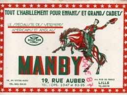 """59 - LILLE - BUVARD """" MANBY """" RODEO- BILLY'SON- HABILLEMENTS POUR ENFANTS- 19 RUE AUBER- - Textile & Vestimentaire"""