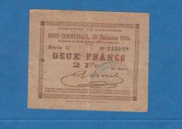 Billet Ancien - LALLAING - Bons Communaux - 15e Emission - 1915 - Série C - Deux Francs - Cachet Rouge - Bonds & Basic Needs