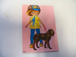 ENFANT PROMENANT SON CHIEN...SIGNE DOBON - Otros Ilustradores