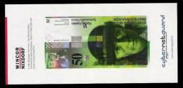 """Test Note """"WINCOR NIXDORF Cybernetguard, Luzern """" Testnote, 50 Franken, Beids. Druck, RRRRR, UNC - Schweiz"""