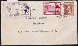 RA)1936 PERU, CIRCULATED FIRST FLIGHT COVER LUFTHANSA, LINEA DIRECTA LIMA-EUROPA, TO AREQUIPA JORGE CHAVEZ PERUVIAN HERO - Peru