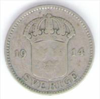 SVEZIA 25 ORE 1914 AG SILVER - Suecia
