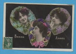 Bonne Année   Femme   3 Têtes - Neujahr