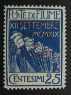 """ITALIA Regno Fiume-1920- """"Reggenza Carnaro"""" C. 25 MH* (descrizione) - 8. Besetzung 1. WK"""