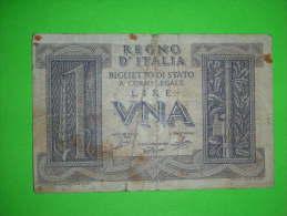 Italia,regno,una Lire,1 Lira,1935.,banknote,bill,geld,paper Money,vintage - [ 1] …-1946 : Koninkrijk