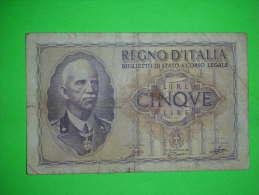 Italia,regno,cinque Lire,5 Lira,banknote,bill,geld,paper Money,vintage - [ 1] …-1946 : Regno