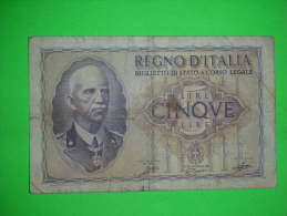 Italia,regno,cinque Lire,5 Lira,banknote,bill,geld,paper Money,vintage - [ 1] …-1946 : Kingdom