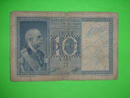 Italia,regno,dieci Lire,10 Lira,banknote,bill,geld,paper Money,vintage - [ 1] …-1946 : Koninkrijk