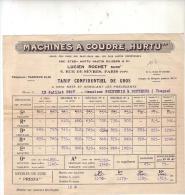 "FEUILLE   -  MACHINE   A  COUDRE   ""  HURTU  ""   TARIF  CONFIDENTIEL  DE  GROS - Old Paper"